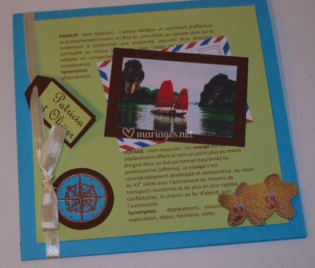 Faire-part mariage Voyage bleu turquoise, vert anis et chocolat