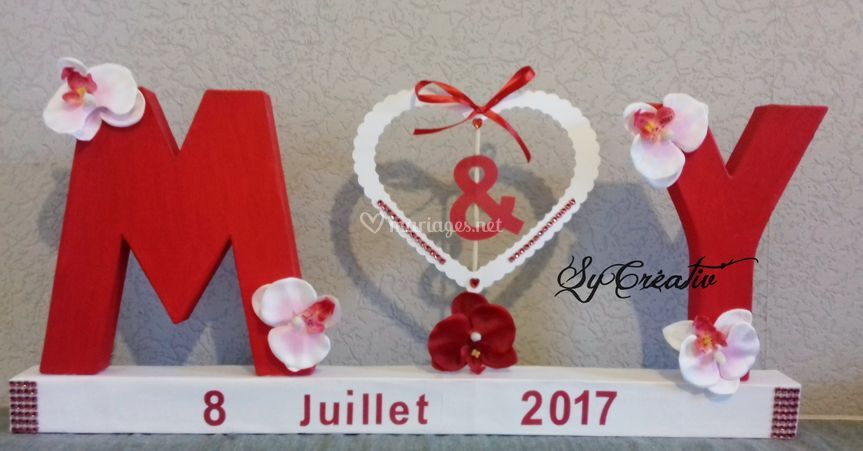 Déco lettres mariage orchidées
