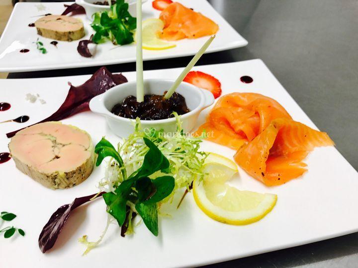 Duo foie gras et saumon fumé