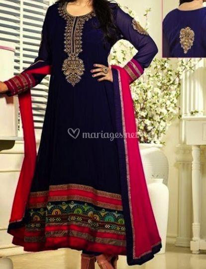Salwar kameez rose et bleu