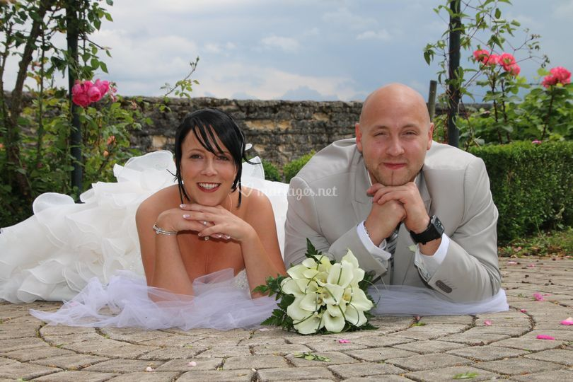 Photo mariage couché