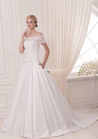 Robe de mariée décolleté batea