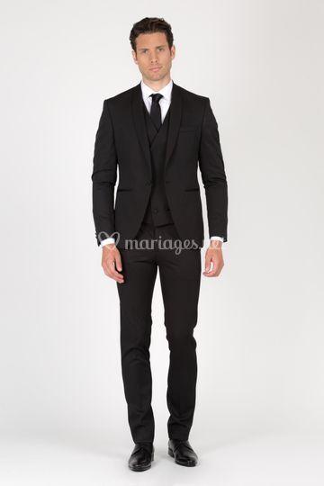 Costume noir mariage col châle