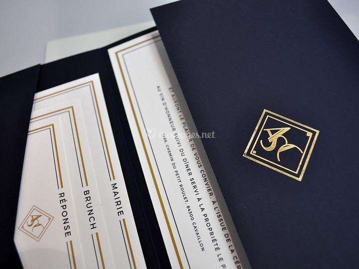Pochette Prestige bleu nuit or