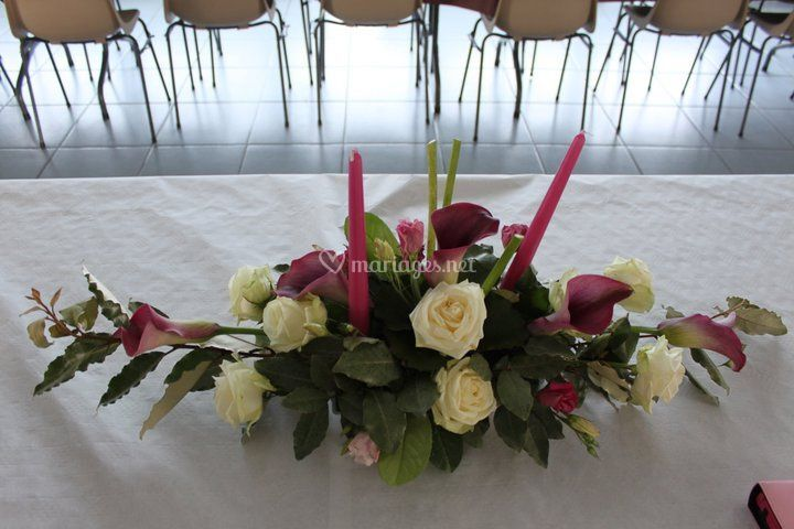 Centre table rose et calla