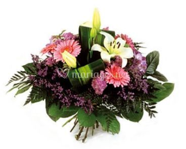 Bouquet rond blanc et mauve