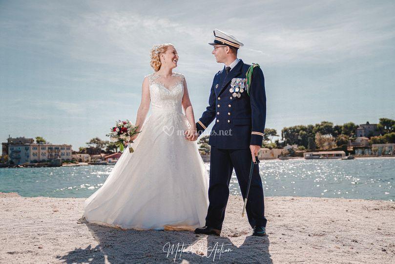 Mariés bord de mer