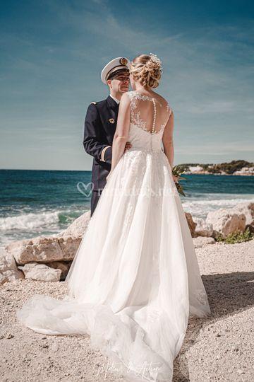 Mariés bord de mer plage
