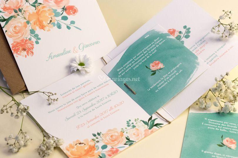 Faire-part aquarelle fleurs