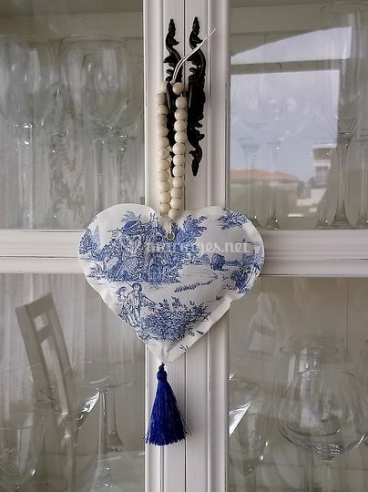 Coeur lavande toile de Jouy BL