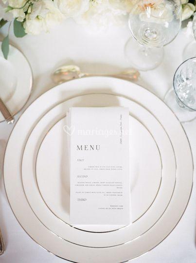 Le menu de votre mariage