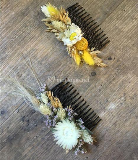 Peigne cheveux fleurs séchées