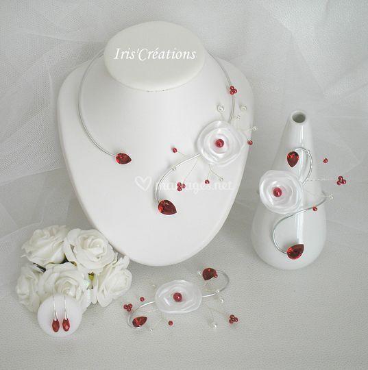 Parure Calinka blanc rouge