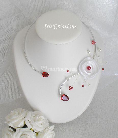 Collier Calinka blanc rouge