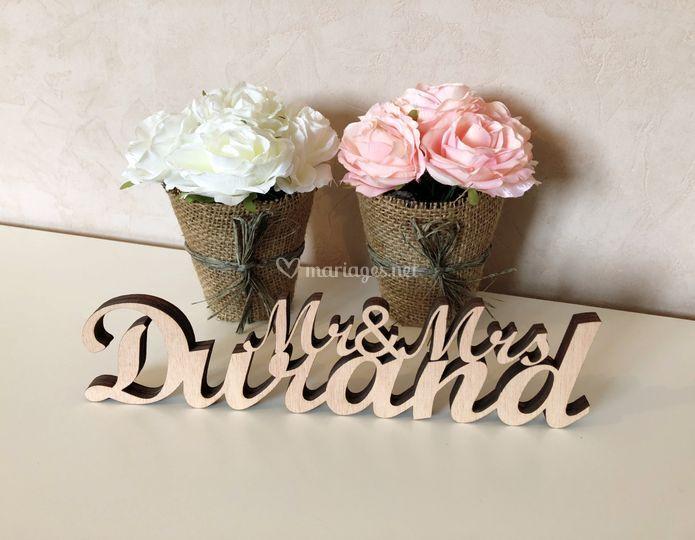 Mr & Mrs avec nom de famille