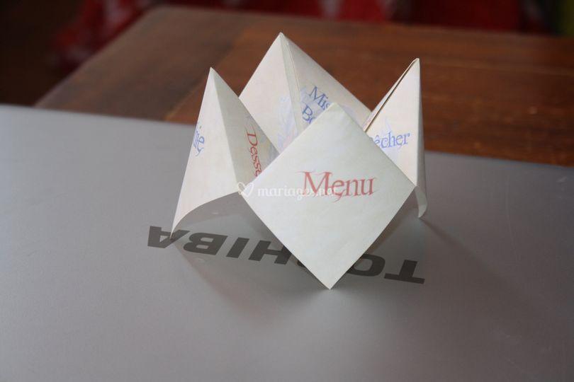 Menu cocotte en papier