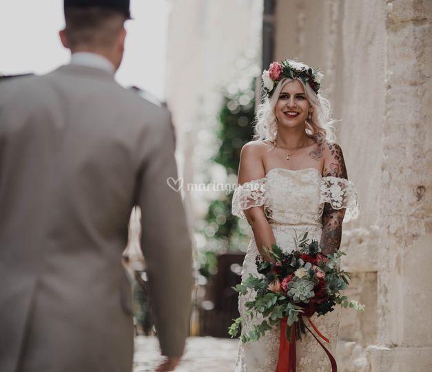 Bouquet de mariée+couronne