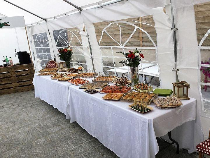 Buffet sur terrasse