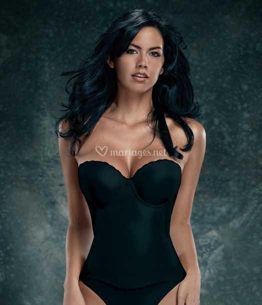 info pour 3f7fc 369c7 Bustier Noir gainant dos nu sans bretelles de La mariée de ...