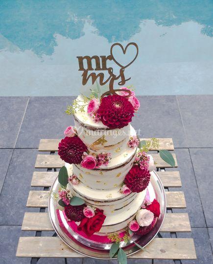 Nacked cake romantique
