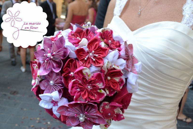 Bouquet mariée original tissu