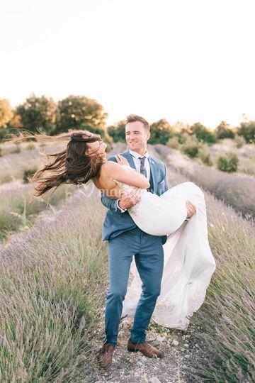 Mariés champs de lavande