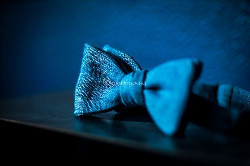 Noeud papillon lin bleu