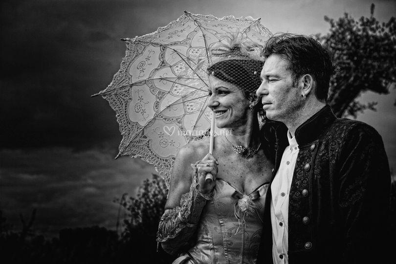 L'ombrelle noir et blanc