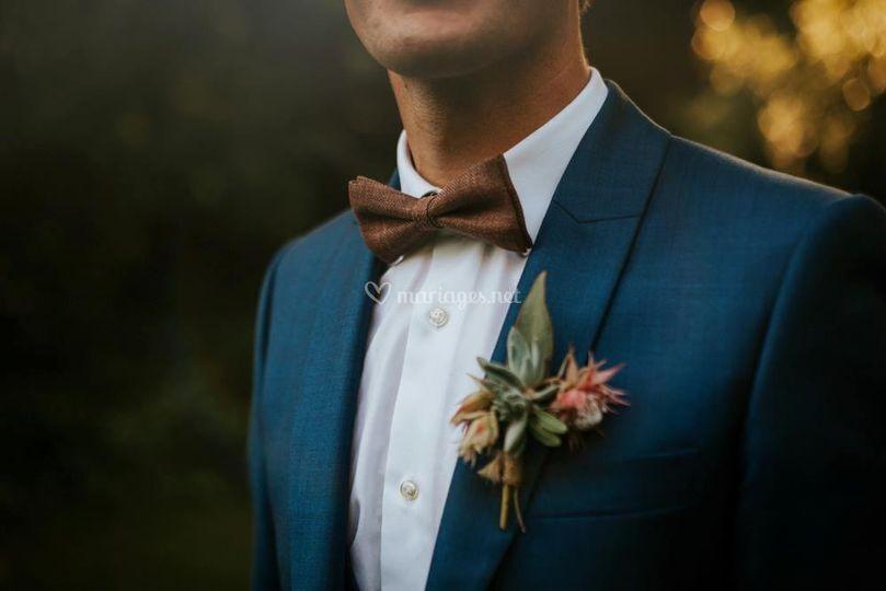 Costume bleu mariage boho