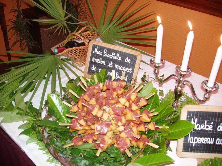 Brochette de melon landaise