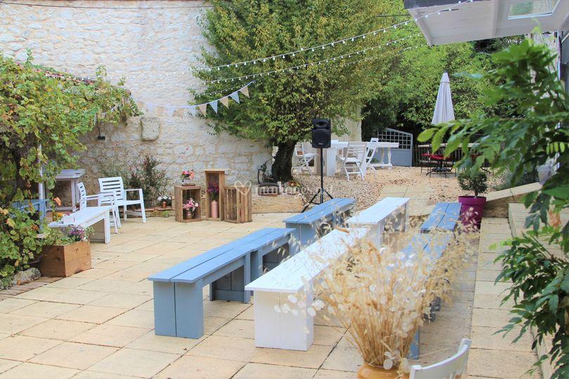 Le patio pour la cérémonie