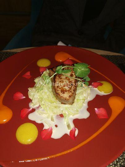 Assiette de saumon fondue de p