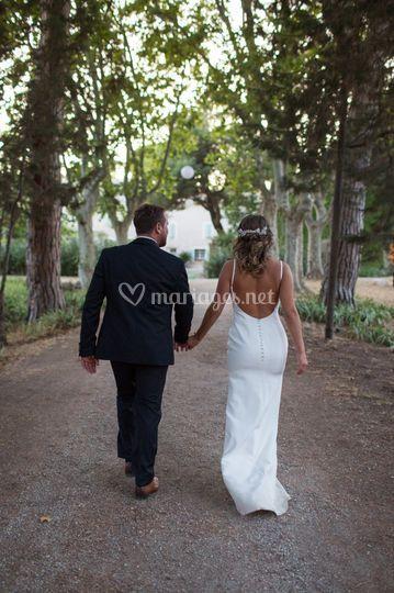 Les mariés dans l'allée