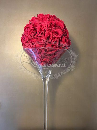 Boule de fleur et vase martini