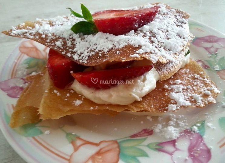 Pastilla au lait et fraises