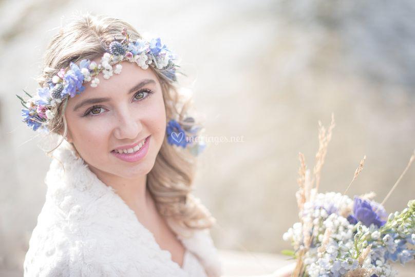 Mariée et bouquet sur Carine Sarrailh