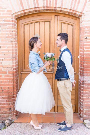 Robe de mariée tutu et jeans