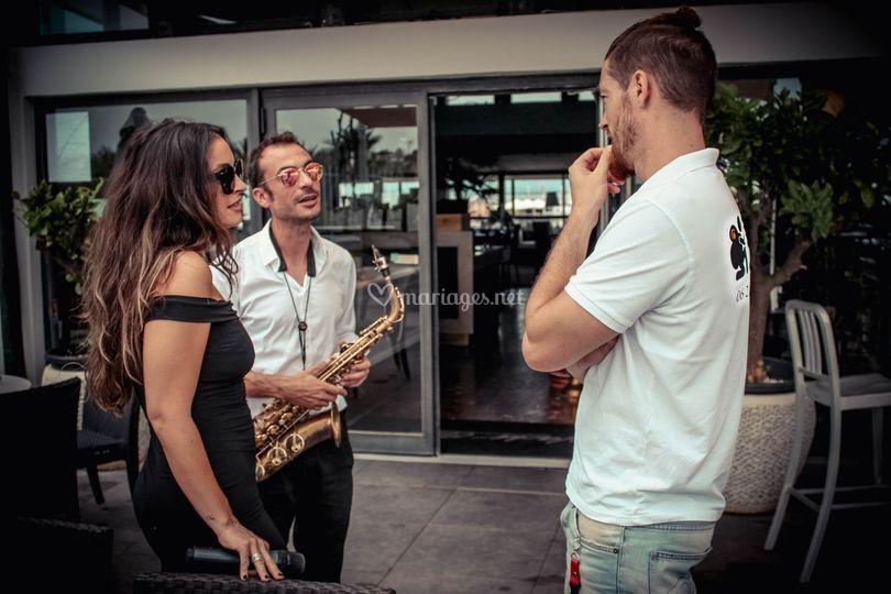 Avec les musiciens