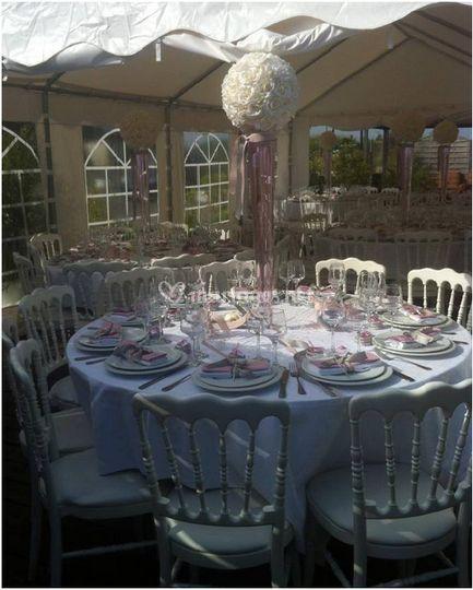 Tente décoration rose et gris