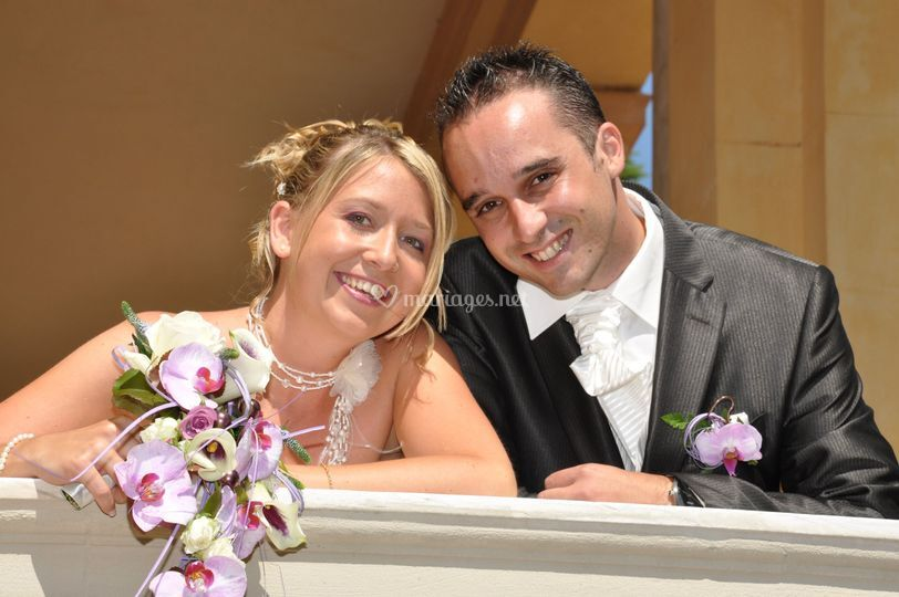 Les mariés depuis le balcon