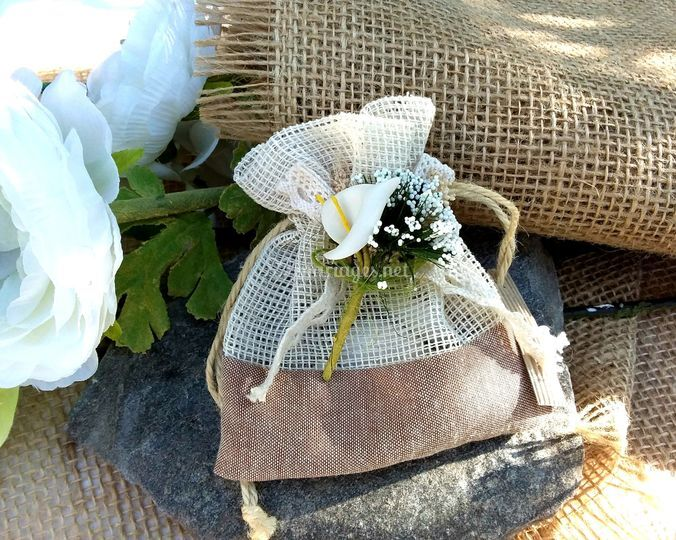 Pochette romantique lin & jute