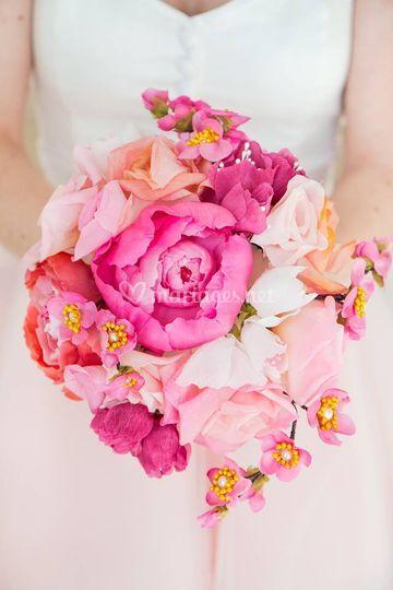 Bouquet rose - fleurs de soie