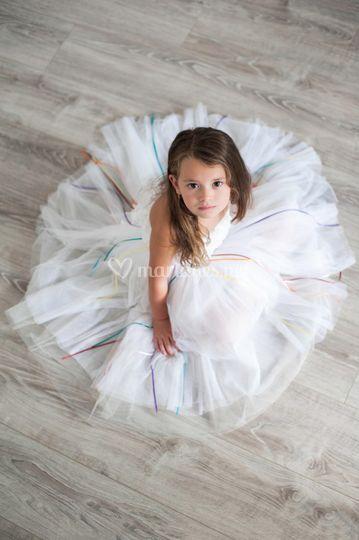 Robe blanc et arc-en-ciel