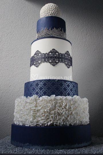 Wedding Cake Bleu Blanc Argent