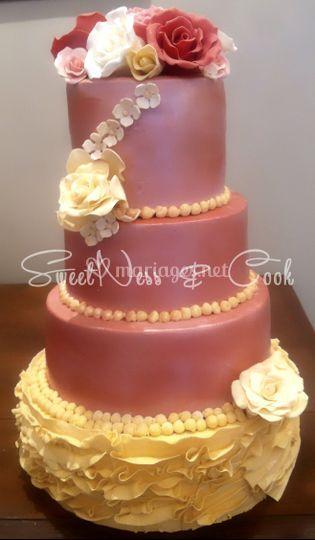 Wedding cake chic fleuri