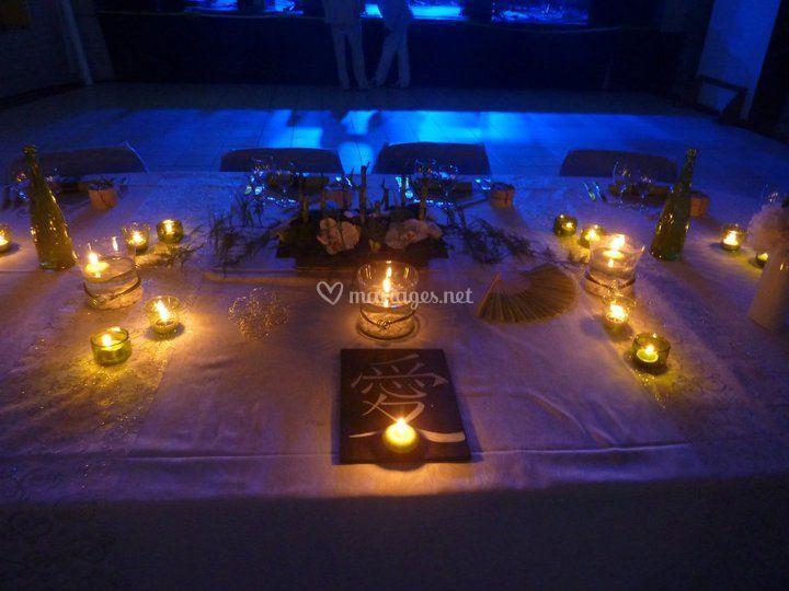 Déco salle zen table mariés