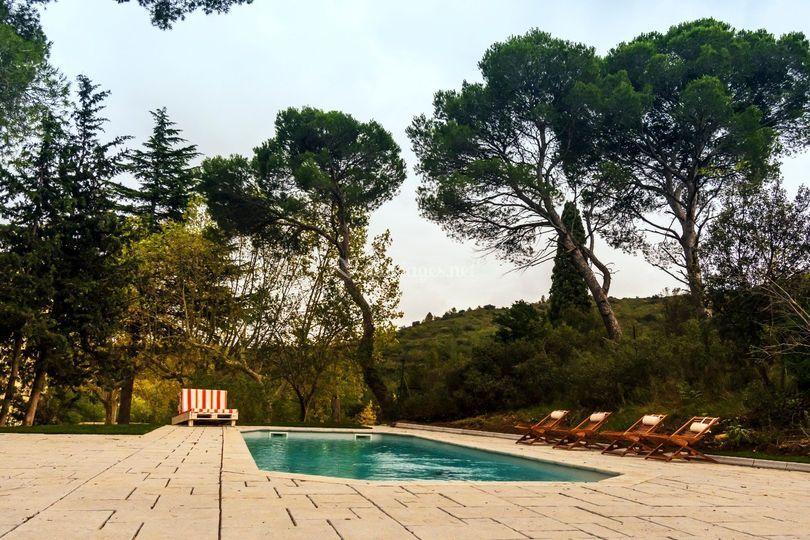 L'espace piscine et pool-house