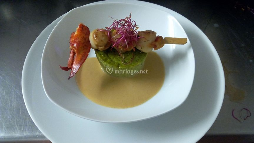 Brochette de homard, Saint-Jacques