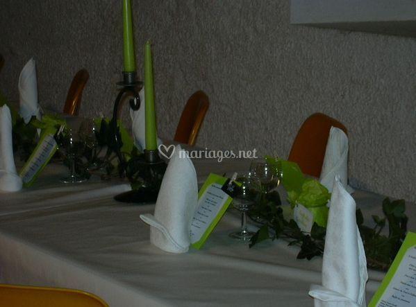 Menu et table de mariage
