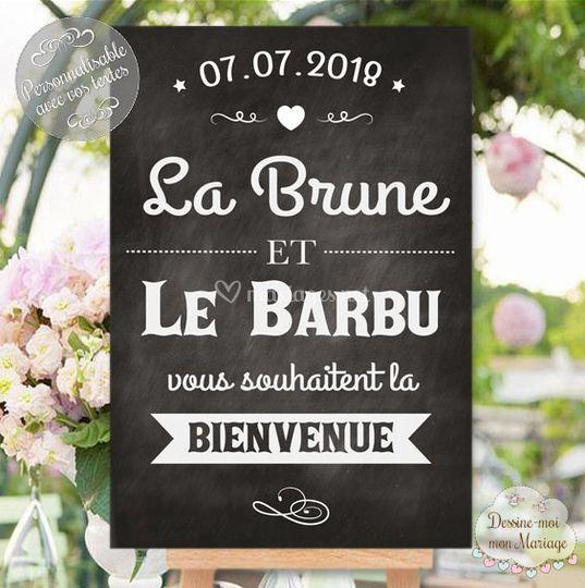 "Tableau ""La brune & le barbu"""